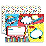 Super Hero Comic Book Birthday Party Invitations for Boys, 20 5'x7' Fill in Cards with Twenty White Envelopes by AmandaCreation