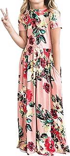 فستان YIJODM طويل للفتيات مزين بالزهور فستان بأكمام قصيرة مطبوع عليه زهور مع جيوب فستان صيفي طويل للعطلة