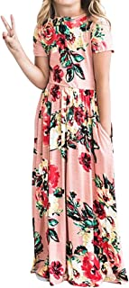 YIJODM Girls Floral Maxi Dress, Flower Printed Short Sleeves Dress with Pockets Summer Long Holiday Dress