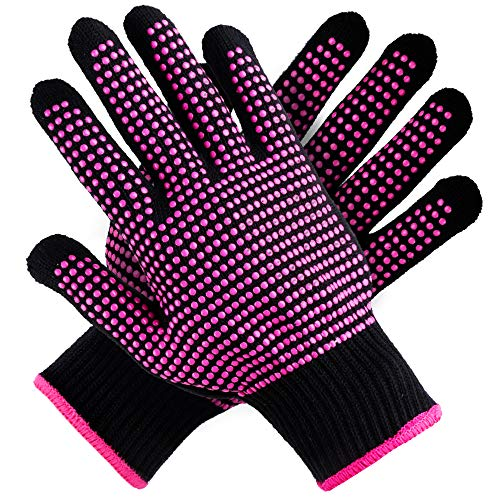 Teenitor 2 Pcs Heat Resistant Gloves With Silicone Bumps, (New Upgraded) Professional Heat Proof Glove Mitts For Hair Styling Curling Iron Wand Flat Iron Hot-Air Brushes, Universal Fit Size