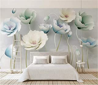 YHEGV Photo Wallpaper 3D Effect Wall Mural 200 cm x 140 cm Non Woven Paper for Living Room Bedroom Office TV Background Decoration - Three-Dimensional Relief Color Carving Flower