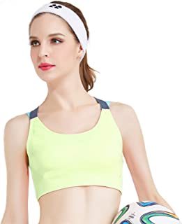 KLiHD 5.Yoga Bra for Women, Criss-Cross Back Padded Strappy Sports Bras Medium Support Yoga Bra with Removable Light Suppo...