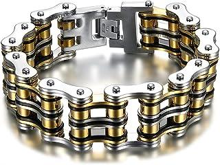 BOBIJOO Jewelry - Bracelet Chaîne de Moto Imposant Large Lourd Acier Inoxydable Or Noir Argent 22.5cm 28mm
