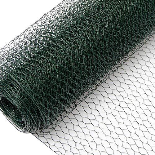 Niederberg Metall Grillage Métallique pour Cloture Maillage Hexagonal : 25x25mm Longueur 25m Hauteur 75cm Clôture pour Animaux et Plantes 0.9mm avec Couche en PVC Verte