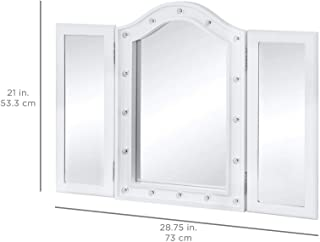 AK Energy White Wood Lighted Tabletop Vanity Mirror 16 LED Lights Makeup Tri Fold Doors Dressing Bathroom Bedroom