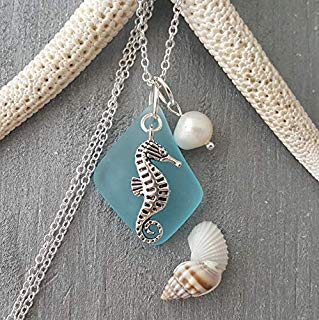 """Handmade in Hawaii, turquoise bay blue sea glass necklace,""""December Birthstone"""", freshwater pearl, seahorse charm, (Hawaii Gift Wrapped, Customizable Gift Message)"""