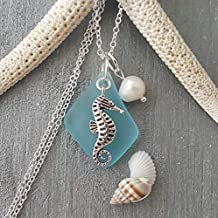 Handmade in Hawaii, turquoise bay blue sea glass necklace,