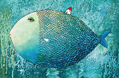 HQHff Gran pez,Puzzles Adultos 1000 Piezas 75x50cm,3D Puzzles de Madera Adultos Regalo de Juguete Educativo para niños