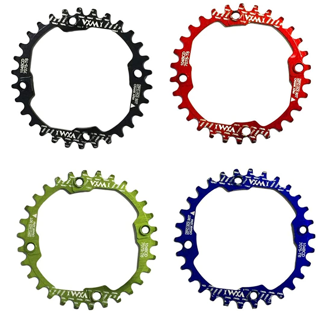 Propenary - 1PC Bicycle Chainwheel Crank 30T 104BCD Aluminum Alloy Narrow Wide Chainring Round Bike Chainwheel Crankset Bicycle Parts [ Red ]