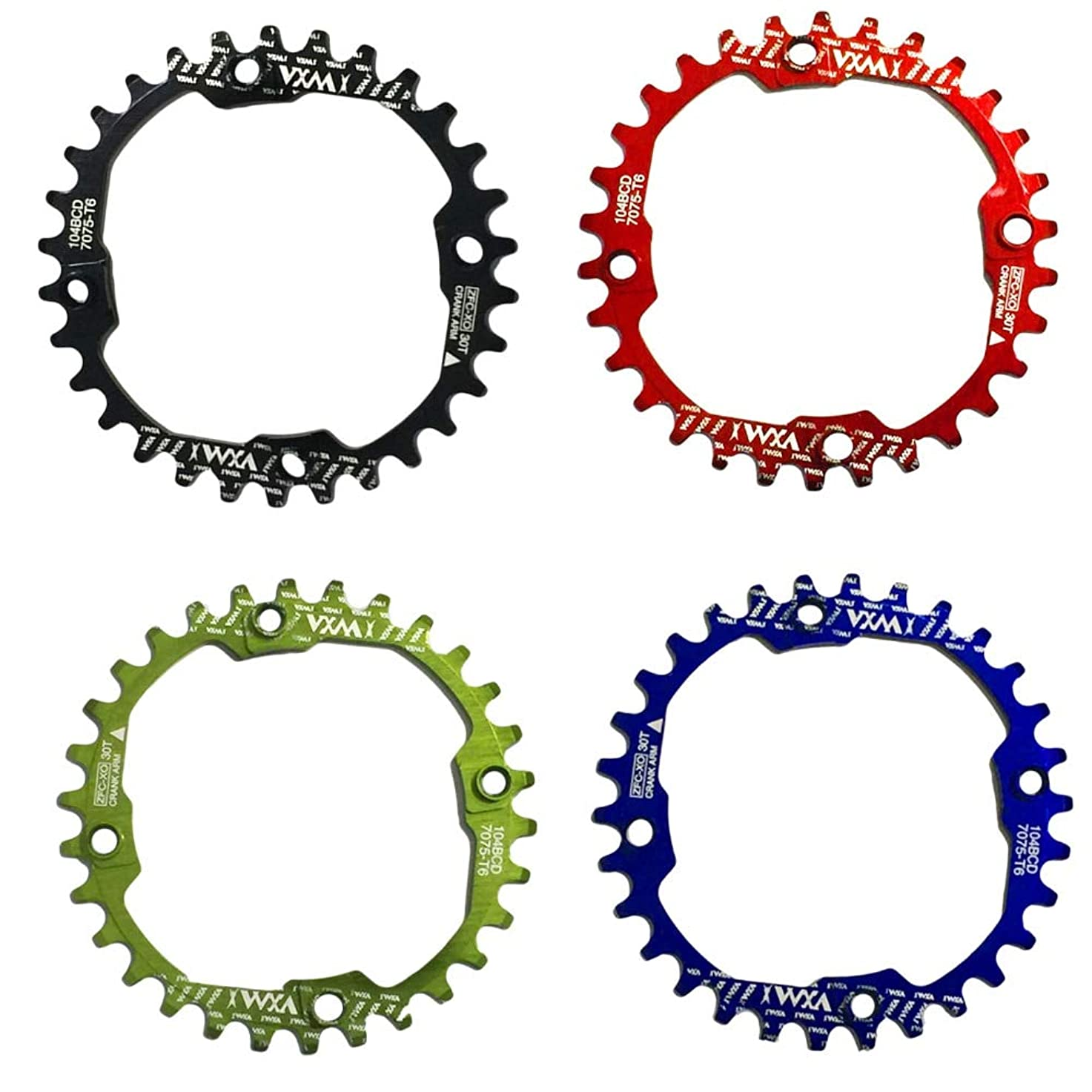 特定の落とし穴船外Propenary - 1PC Bicycle Chainwheel Crank 30T 104BCD Aluminum Alloy Narrow Wide Chainring Round Bike Chainwheel Crankset Bicycle Parts [ Red ]