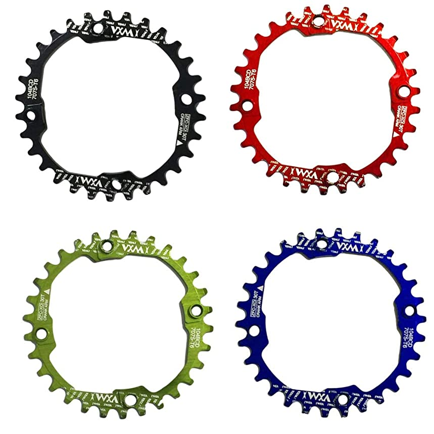 強調する差別上下するPropenary - 1PC Bicycle Chainwheel Crank 30T 104BCD Aluminum Alloy Narrow Wide Chainring Round Bike Chainwheel Crankset Bicycle Parts [ Blue ]