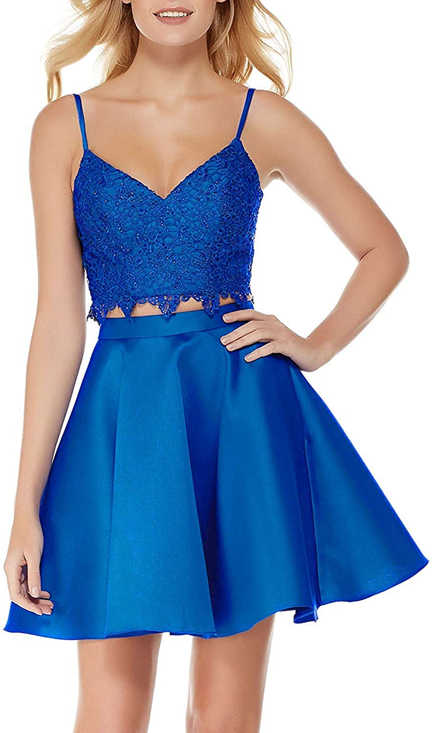 Sulidi Women's A Line V Neck Homecoming Dresses 2018 Short Two Piece Prom Gowns Elegant Satin Sexy Skirt C014