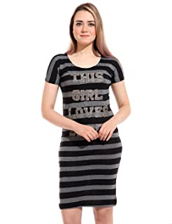 Andora Short Sleeves Embroidered Letters Round-Neck Striped Nightgown for Women