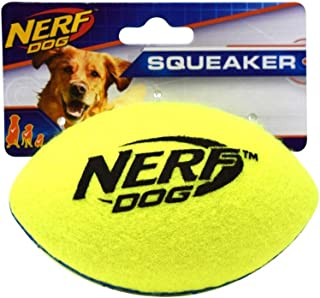Nerf Dog Rubber Football Dog Toy with Interactive Squeaker, Lightweight, Durable and Water Resistant, 5 Inch Diameter for ...