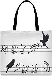 CaTaKu Sac fourre-tout en toile avec motif notes de musique en toile de coton avec grande poignée, durable et réutilisabl...
