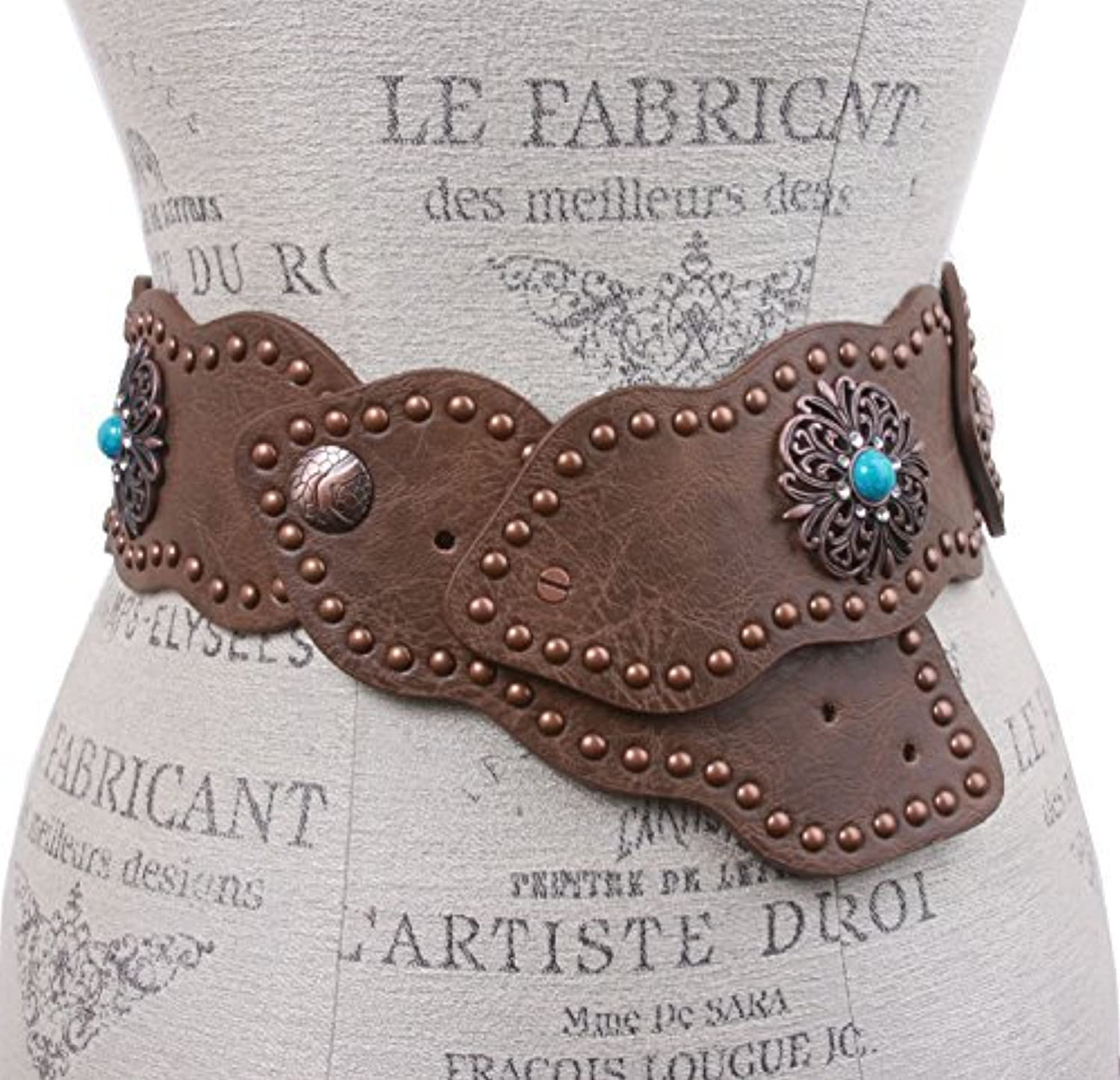 3  (75 mm) Wide Link Turquoise Studded Leather Belt, Brown   m l 37 41