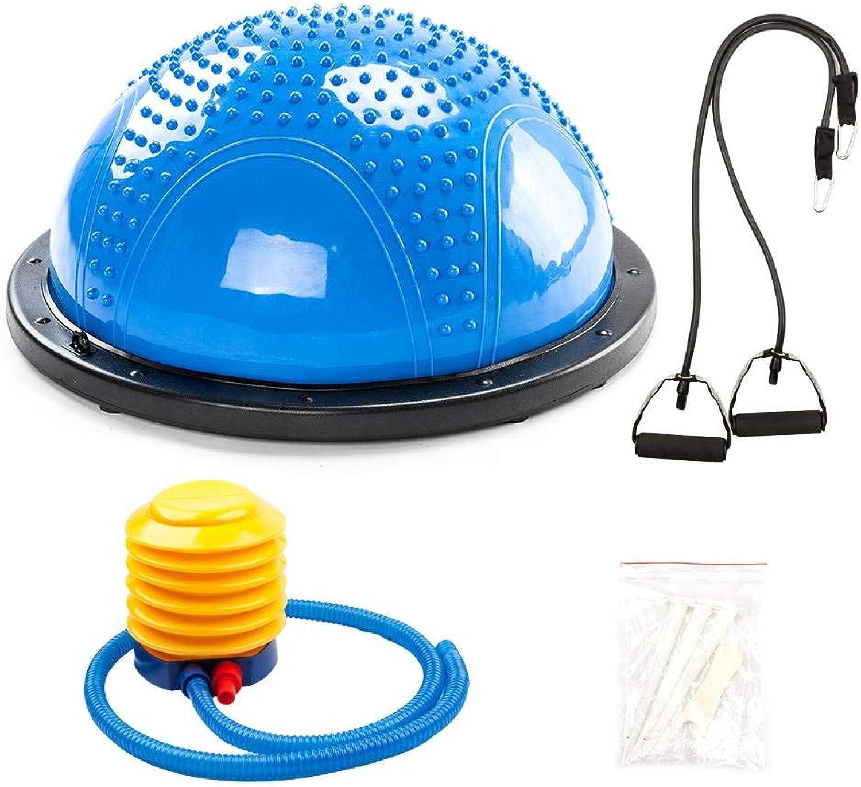 Gym Household Balanced Hemisphere Yoga Ball with Massage Granule bluee