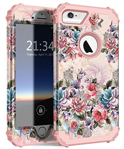 iPhone 6s Case, iPhone 6 Case, Hocase Shockproof Heavy Duty Hard Plastic+Silicone Rubber Bumper Full Body Protective Case w/Cute Floral Design for iPhone 6s/iPhone 6 - Peony Flowers/Rose Gold