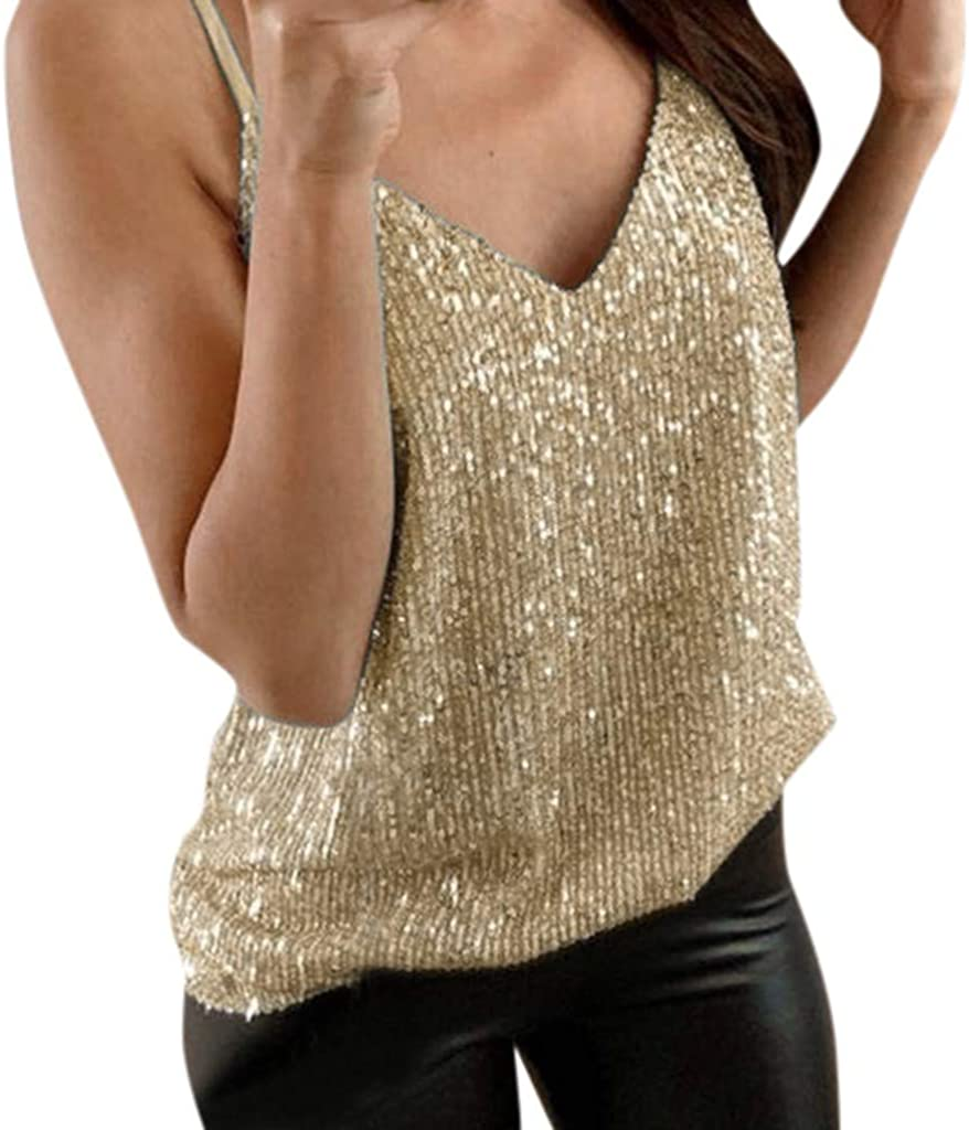 Meikosks Womens Tank Tops Sexy Sparkle Blouses Cami Swing Vest Glitter Strappy Clubwear