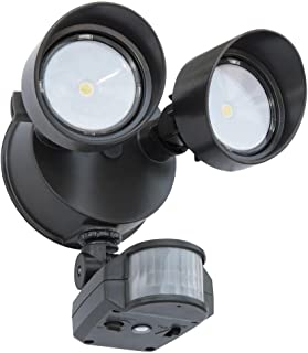 Lithonia Lighting OLF 2RH 4000K 120 MO BZ M6 Contractor Select Twin Head Outdoor LED Security Flood Light With Motion Sensor, 1500 Lumens, 120 Volts, 19 Watts, Wet Listed, Black Bronze