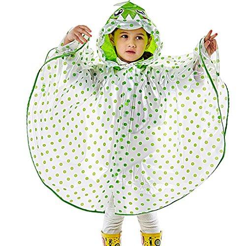 Regenmantel kinderregenjas poncho pak leeftijd 4-12 jongens en meisjes met zakpositie outdoor te voet mantel opblaasbare hoed waterdicht transparant Large C