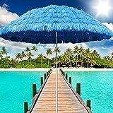 Hawaii-Regenschirm, 1,7 m, blau, Sommer-Sonnenschutz, Hula-Bast, Strandschirm, ideal für Urlaub, Reisen, Hotel Dekoration