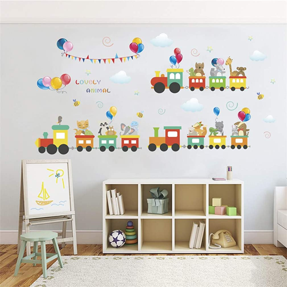 ufengke Animal Train Wall Stickers Balloons Wall Decals Art Decor for Kids Bedroom Nursery