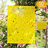 50 Sheets Yellow Sticky Traps, 8x6 Inch, Dual-Sided, with Twist Ties and Plastic