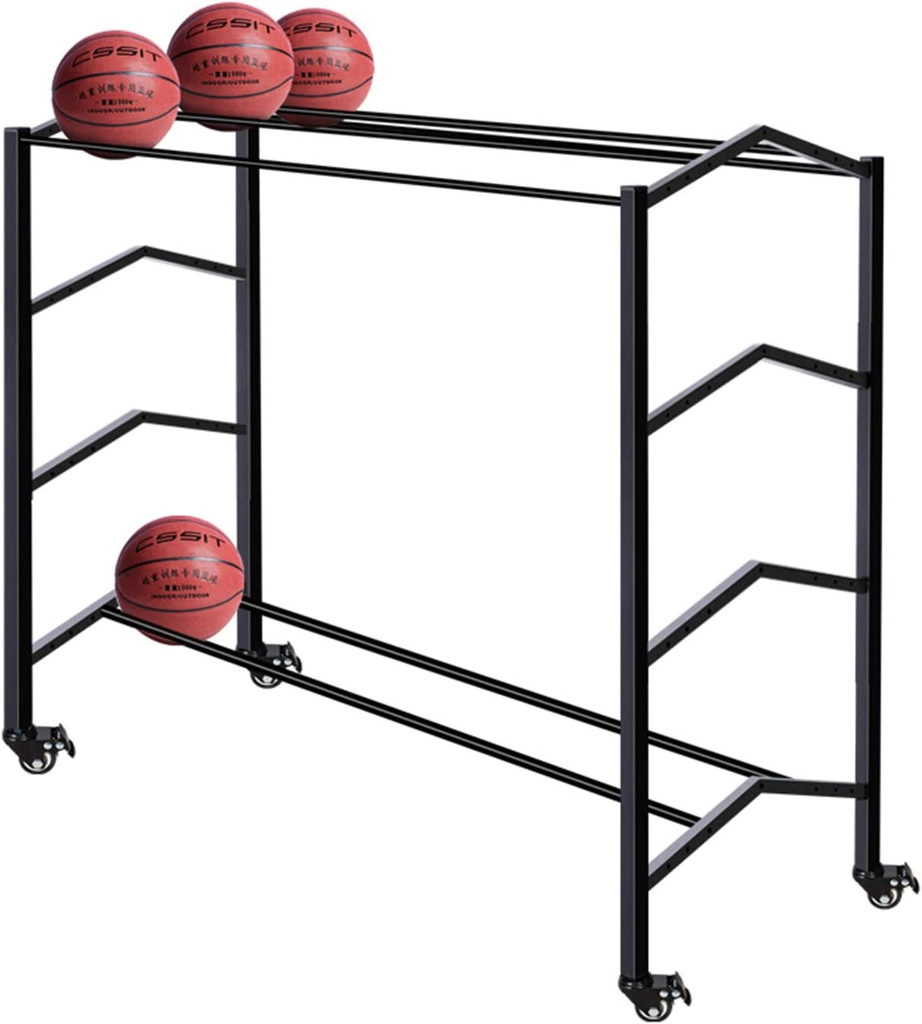 YXX Black Three-Wide Sports Ball with Brake Storage Caster Cart Popular San Francisco Mall brand