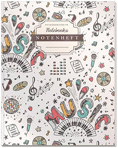DÉKOKIND Notenheft | DIN A4, 64 Seiten, 12 Notensysteme pro Seite, Inhaltsverzeichnis, Vintage Softcover | Dickes...