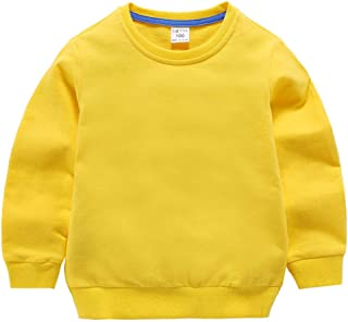 Unisex Kids Solid Cotton Thin Pullover Sweatshirt T-Shirt Toddler Baby Crewneck Long Sleeve Tshirts Tops Blouse