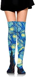 Knee High Socks The Starry Night Van Gogh Long Socks Boot Stocking Compression Socks For Women
