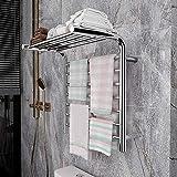 Calentador de toallas de 7 barras montado en la pared con estante superior, toallero eléctrico de 88 W para baño, interruptor de encendido / apagado del riel del calentador de toallas de acero, pulido