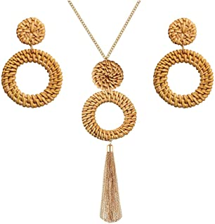 Long Necklace and Rattan Earrings Set for Women Handmade...