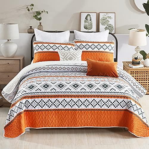 WONGS BEDDING Orange Tagesdecke 220x240 cm Boho Bettüberwurf für Bett Mikrofaser Wohndecke mit 2*Kissenbezüge 50x70cm Gestreifte Geometrie Sofaüberwurf Komfort & Weich Steppdecke