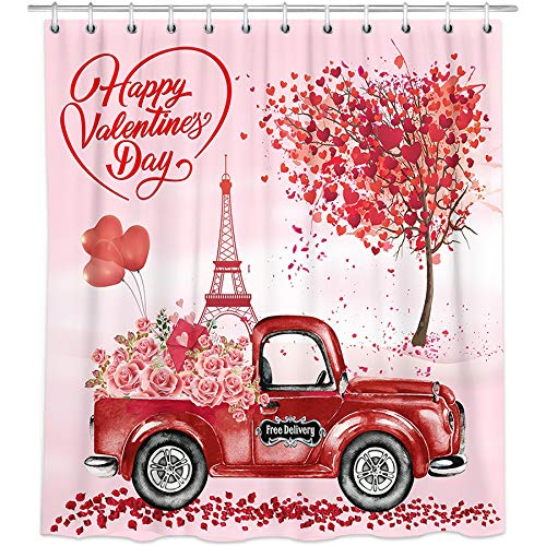 Bonsai Tree Valentine Shower Curtain, Waterproof Happy Valentines Day Bathroom Curtains for Women, Vintage Red Truck with Flowers Farmhouse Fabric Shower Curtains Hooks for Home Decor Gifts, 72'x72'