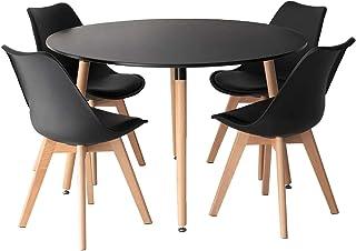 SENJA - Ensemble Table Ronde 120 CM et 4 Chaises Scandinaves - Design épuré et Chaleureux - Noir