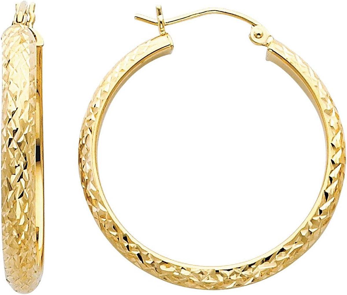 TGDJ 14K Yellow Gold 3.5mm Diamond Cut Hoop Earrings - (Diameter - 30mm)
