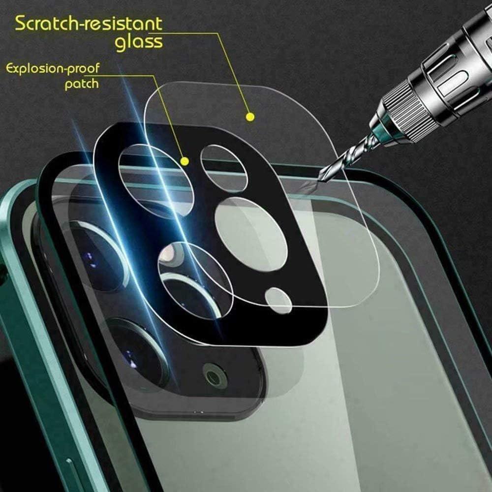 360-Grad-Vollabdeckung Doppelseitige Schnallen-Telefonh/ülle geh/ärtete Glasabdeckung vorne und hinten mit Kameraobjektivschutz magnetische Metallh/ülle