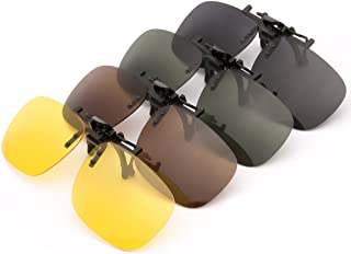 4-Pack Polarized Clip-on Plastic Sunglasses Lenses for Outdoor Walking Driving Fishing Cycling - (Night Vision Yellow + Grey + Dark Brown + Dark Green)