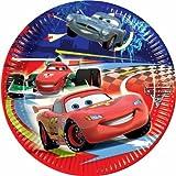 ALMACENESADAN 0884; Paquete de 8 Platos de cartón Disney Cars; diametro 23 cm; Ideal para Fiestas y cumpleaños