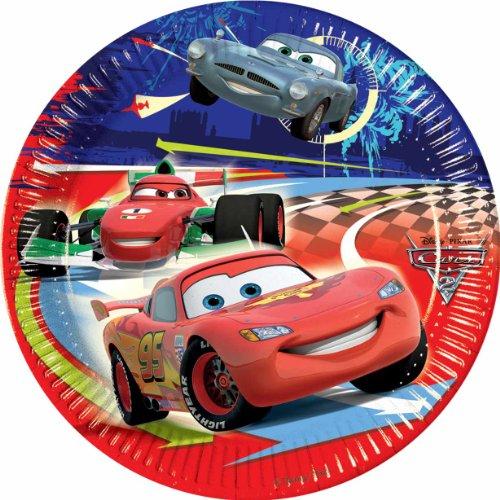 ALMACENESADAN 2371; Paquete de 8 Platos de cartón Disney Cars; Ideal para Fiestas y cumpleaños. Dimensiones 23cm