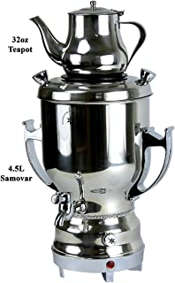 Home N Kitchenware Collection 4.5L Electric Samovar w/teapot Stainless Steel, Silver Persian Teakettle Teapot