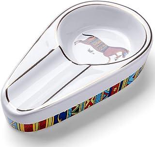 منفضة سيجارلونغ للسيجار، لسيجار واحد بتصميم كلاسيكي من السيراميك، للاستخدام في الخارج أو الداخل (اللون: أبيض)