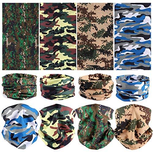 JAHEMU Gesichtsmaske Motorrad Camouflage Masken Multifunktionstuch Bandana Sturmmaske Elastische Schlauch Maske Halstuch Kopftuch für Damen Herren Sport Motorrad Fahrrad 8 Stück
