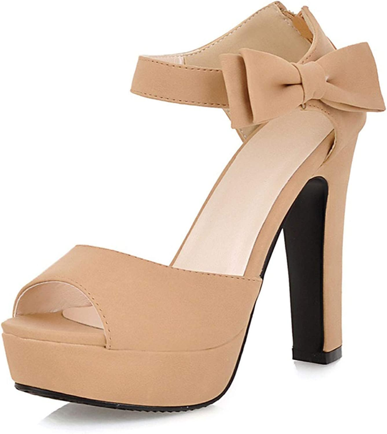 Fairly New Summer Peep Toe Ankle Strap Sweet Thick High Heel Platform Lady shoes,Ivory,8