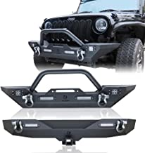 Hunter Textured Black Front and Rear Bumper For 2007-2018 Jeep Wrangler JK & JKU with 6X LED Lights and D-rings Suitable
