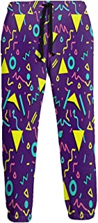 Cyloten Sweatpants Funny 80s 90s Retro Neon Decor Men's Trousers Durable Hip Hop Pants Sportswear with Pockets