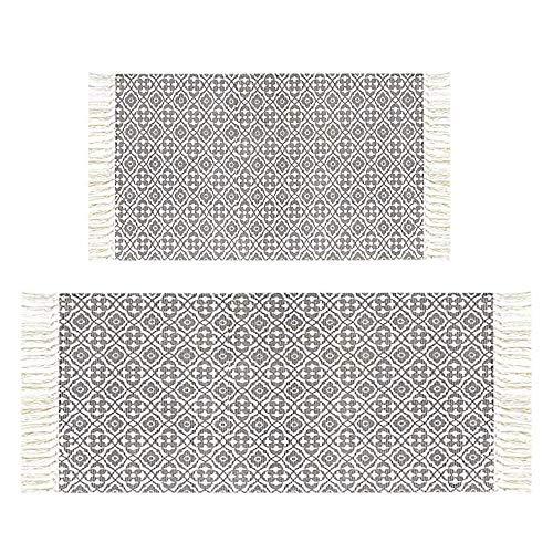 Pauwer Teppich Set Handgewebte Baumwolle Teppiche Bedruckte Rutschfest Abwaschbar Teppich mit Quasten für Wohnzimmer Schlafzimmer Kinderzimmer Küche,60x90cm + 60x130cm