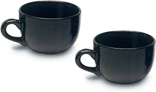 Jumbo Extra Large Ceramic Coffee Mug & Soup 22 ounce, Black (Pack of 2)